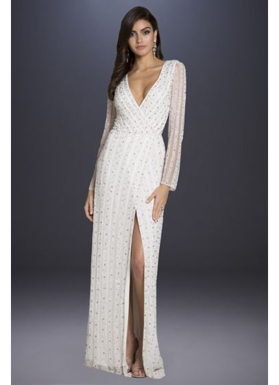 Lara Blair Long-Sleeve Beaded Surplice Sheath Gown - A plunging V-neckline, long illusion sleeves, and a
