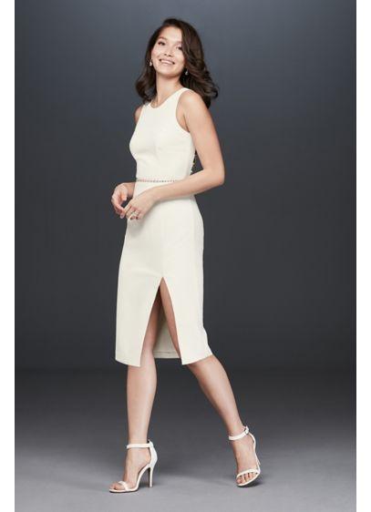Short Sheath Casual Wedding Dress - Bardot