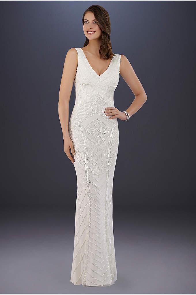Lara Bryant Beaded Tank Sheath Wedding Dress
