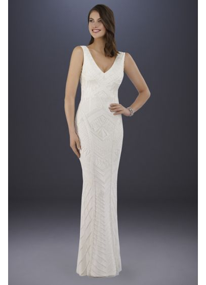Lara Bryant Beaded Tank Sheath Wedding Dress - Channel your inner starlet in this curve-hugging sheath