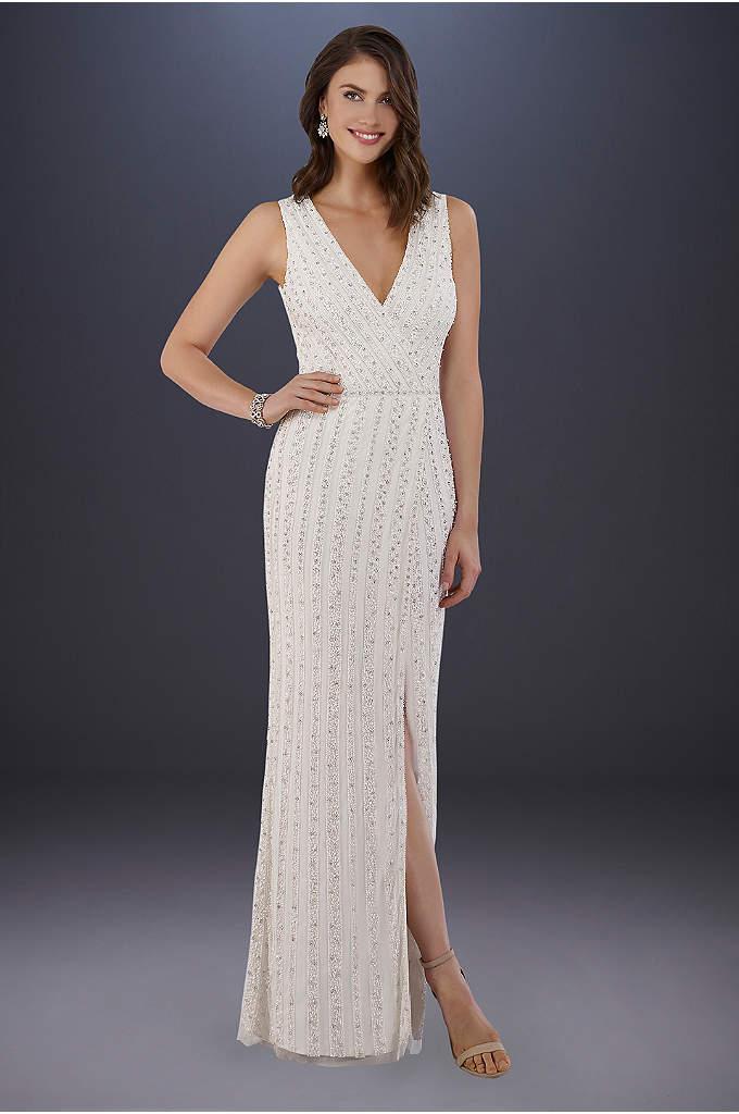 Lara Brandy Beaded Faux-Wrap V-Neck Wedding Dress