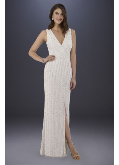 Lara Brandy Beaded Faux-Wrap V-Neck Wedding Dress - Glamorous, modern, and chic, this sleeveless sheath wedding