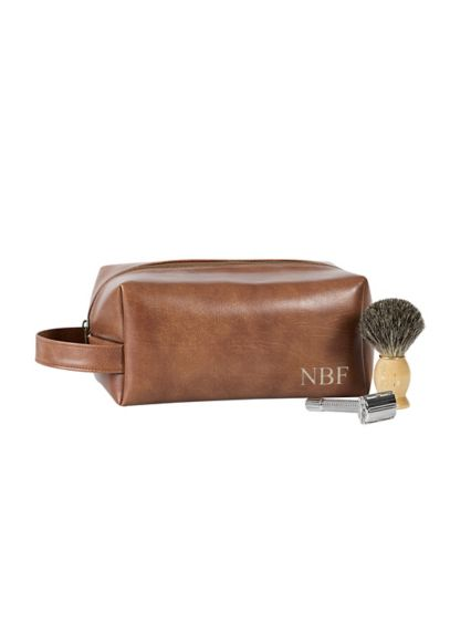 Personalized Vegan Dopp Kit - The handsome brown vegan leather dopp kit is