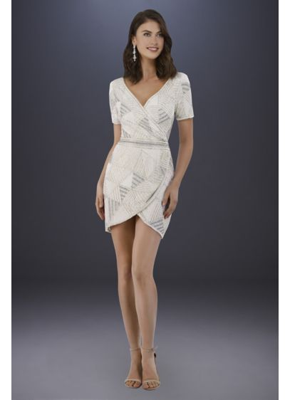 Lara White (Lara Becky Beaded Faux-Wrap Short Sleeve Dress)