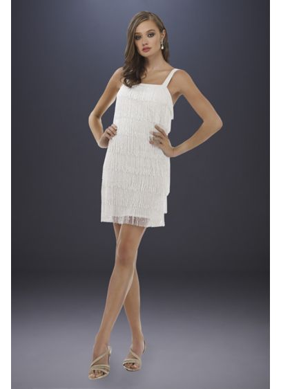 Lara Dakota Beaded Fringe Short Wedding Dress - Rows of beaded fringe and a square neckline