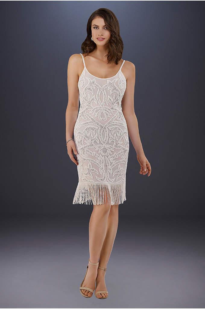 Lara Demi Beaded Short Fringe Hem Wedding Dress