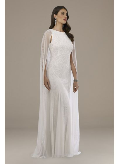 Lara Eve Beaded Cape Wedding Dress - Get ready to turn heads in this tank