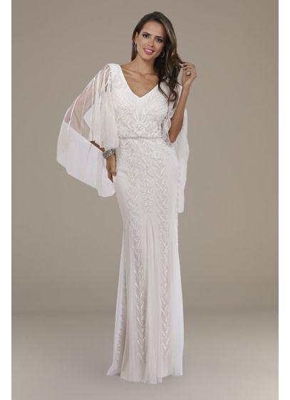 Lara Ella Beaded Cape Sleeve Wedding Dress - A stunning choice for the boho bride, this