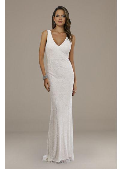 Lara Ivory (Lara Erika Beaded Draped Back V-Neck Wedding Dress)