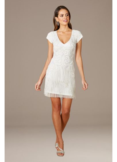 Lara Candie V-Neck Beaded Mini Dress with Fringe - Bring 1920s flapper flair to your 2020s party