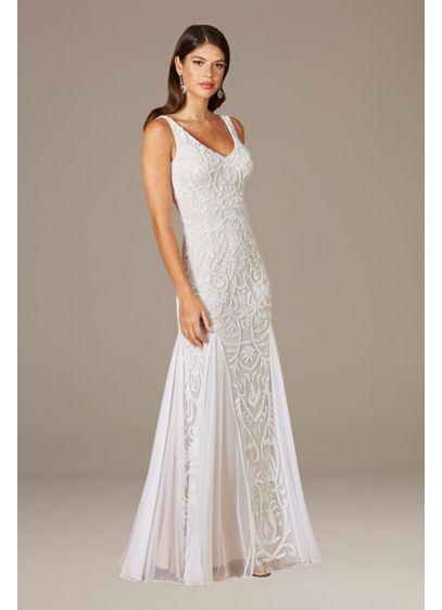 Lara Greta Beaded V-Neck Tulle Wedding Dress - This full-length sheath wedding dress is covered in
