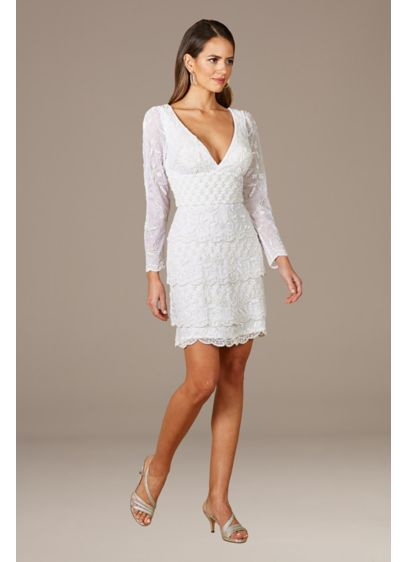 Lara Goldie Beaded V-Neck Mini Dress - Whether for engagement pics, the Bach Bash, or