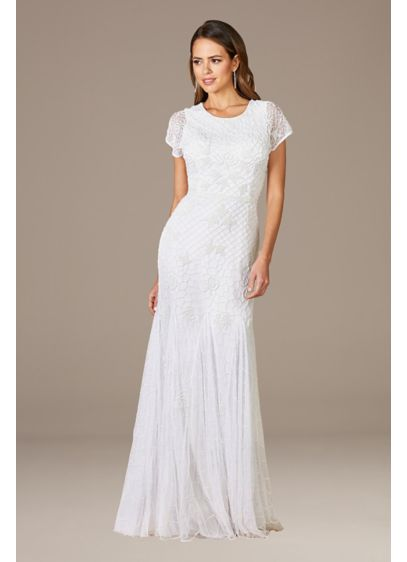 Lara Gale High-Neck Beaded Wedding Dress - The classic high-neck and lace sleeves lend a
