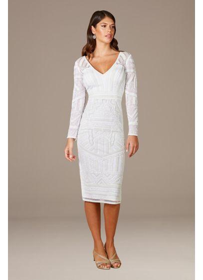 Lara Gloria Long Sleeve Beaded Midi Dress - Romantic meets edgy in this long sleeve beaded