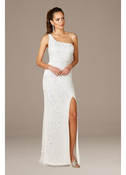 Lara Fleur One Shoulder Floral Beaded Wedding Gown - Radiate romance in this formfitting one-shoulder wedding gown,