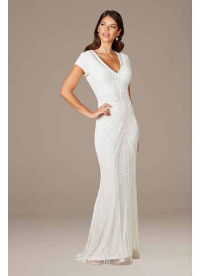 Lara Flavia Fitted Beaded Wedding Gown - The beautifully beaded pattern on this short sleeve