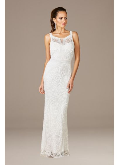 Lara Foster High-Neck Sleeveless Wedding Gown - The allover beading on this sleeveless sheath wedding