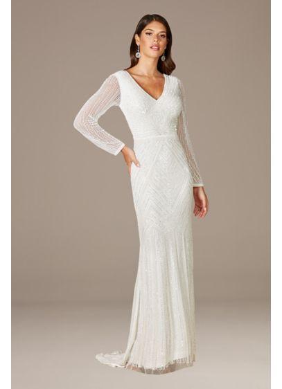 Lara Finley Sheer Sleeve Wedding Gown - You'll feel worthy of a Gatsby party in