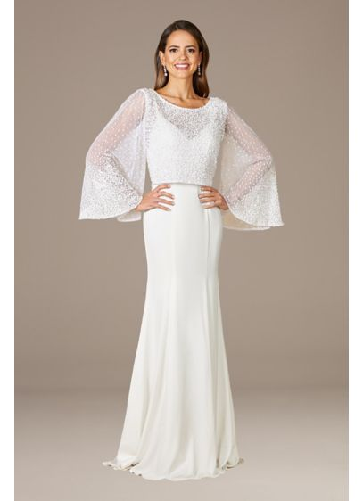Lara Grace Beaded Long Sleeve Bridal Capelet Top - Whether you need a little extra coverage or