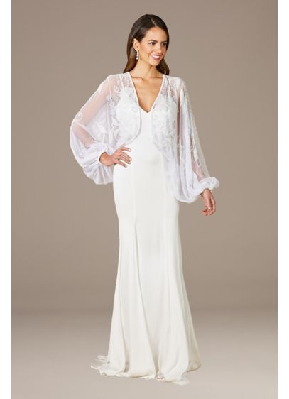 Lara Gillian Beaded Bridal Jacket - Be prepared for the chilly nighttime send-off in