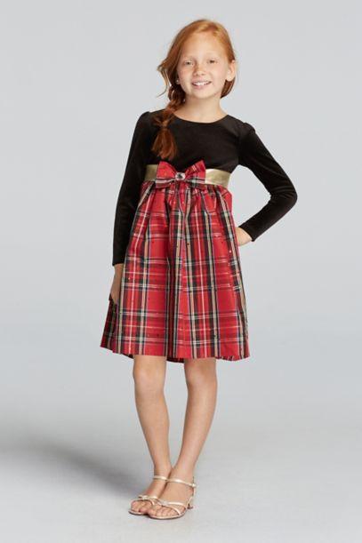 Long Sleeve Velvet Dress With Plaid Skirt Davids Bridal