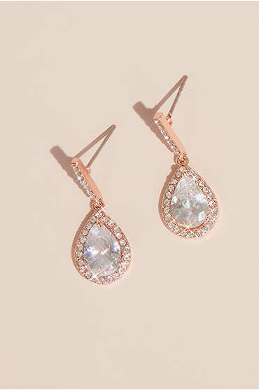 Pear Solitaire Pave Earrings
