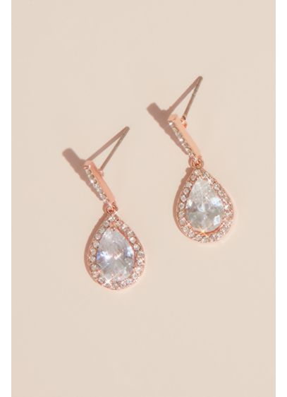 Pear Solitaire Pave Earrings - Wedding Accessories