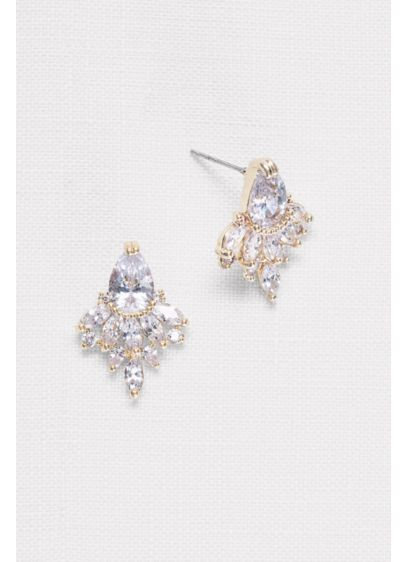 Faceted Crystal Stud Earrings - Wedding Accessories
