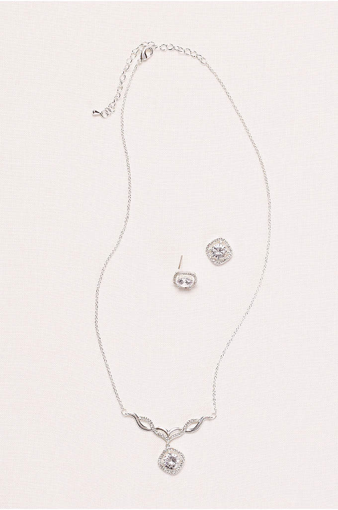 Pave Drop Pendant Necklace and Earring Set - An elegant crystal surrounded by tiny pave gems