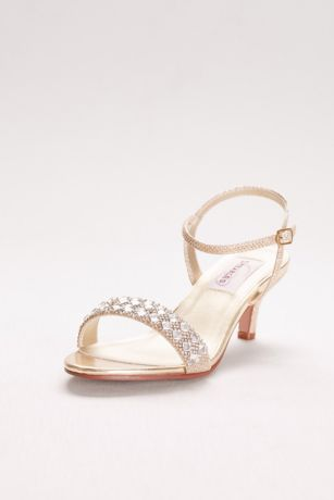 Dyeables Grey;Yellow Heeled Sandals (Metallic Low Heel Sandals with Crystal Strap)