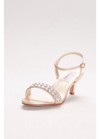 896172d67f42d Metallic Low Heel Sandals with Crystal Strap