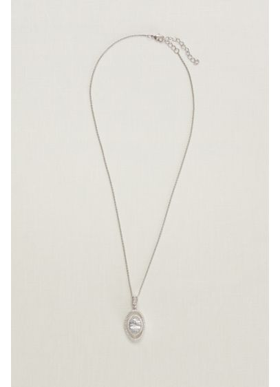 Double Pave Halo Necklace - Wedding Accessories