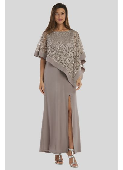 Jersey Sheath Gown with Sequin Lace Capelet - Perfect for a cocktail party or wedding reception,
