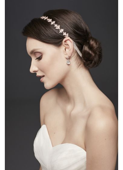 Ribbon Tie Headband with Crystal Floral Design - Wedding Accessories