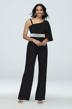 Long Jumpsuit One Shoulder Dress - Morgan and Co