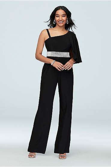Asymmetric Sleeve Jumpsuit with Crystal Belt