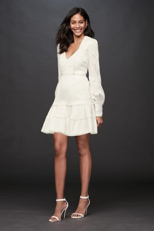Crochet V Neck Mini Dress With Flounce Hem Davids Bridal