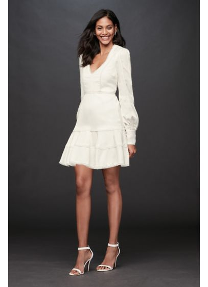 Short A-Line Beach Wedding Dress - Bardot
