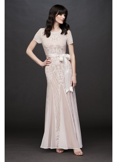 Short Sleeve Illusion Beaded Sheath with Godets - This modern-romantic dress gets its figure-flattering hourglass silhouette