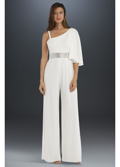 Drape-Shoulder Jersey Jumpsuit with Crystal Waist - Perfect for a destination wedding or any wedding