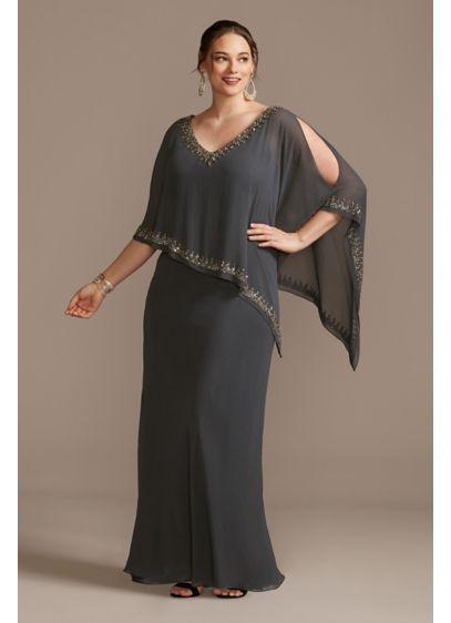 Long Sheath Capelet Formal Dresses Dress - Jkara