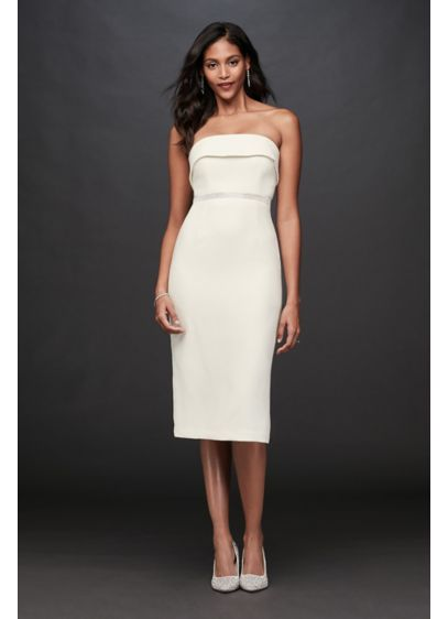 Short Sheath Beach Wedding Dress - Bardot