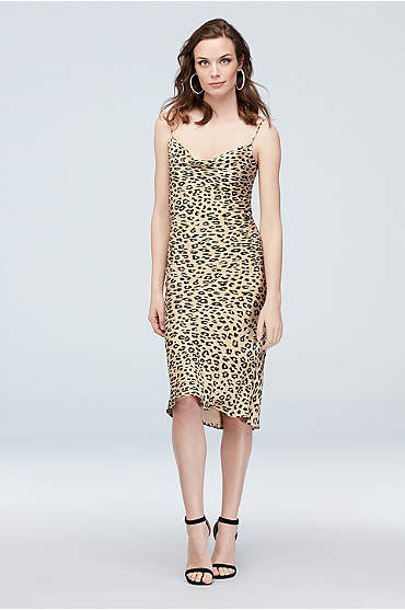 Leopard Print Cowl Neck Spaghetti Strap Slip Dress