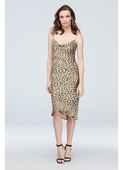 Leopard Print Cowl Neck Spaghetti Strap Slip Dress - You know what they say, leopard is the