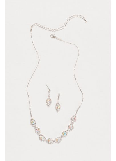 David's Bridal Grey (Teardrop Crystal Necklace and Earring Set)