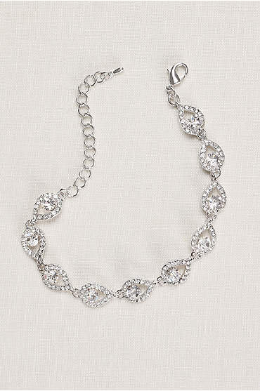 Teardrop and Pave Link Cubic Zirconia Bracelet