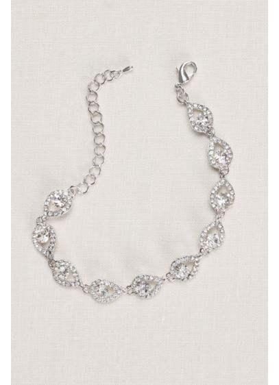 Teardrop and Pave Link Cubic Zirconia Bracelet - Wedding Accessories