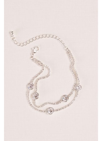 Double Chain Bracelet with Cubic Zirconia Spacers - Wedding Accessories