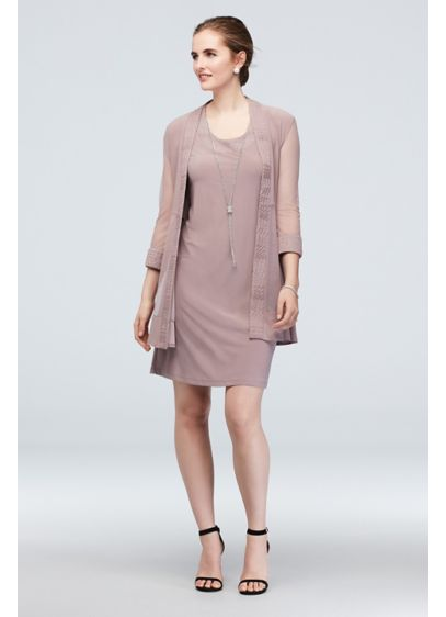 Jersey Dress and Sheer Sleeve Jacket with Trim - This knee-length jersey dress-and-jacket set combines eye-catching flair