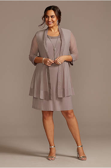 Plus Size Jersey Dress and Sheer Sleeve Jacket Set